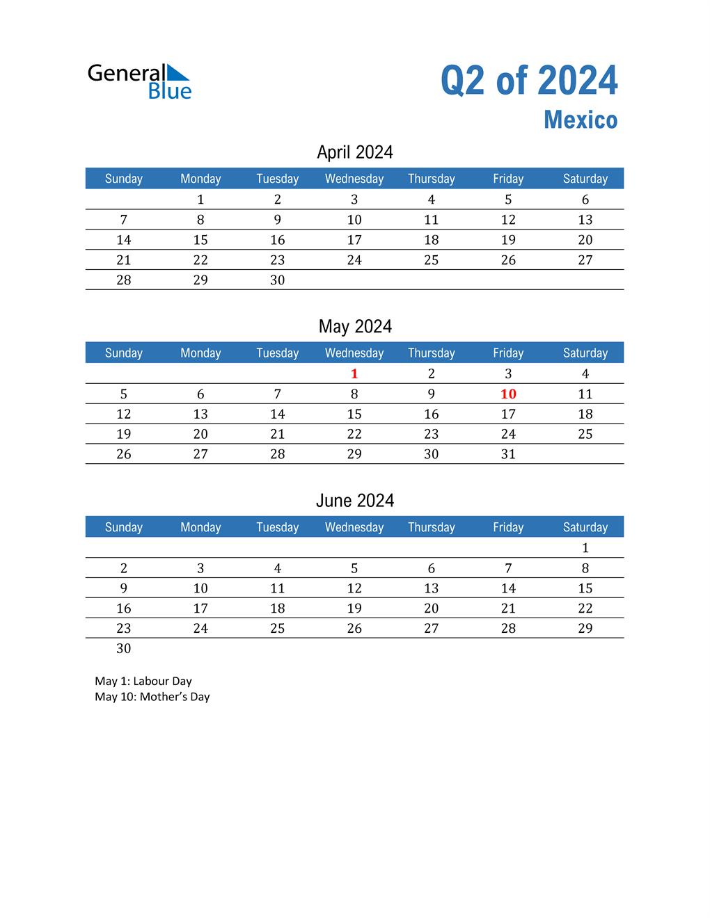 Mexico 2024 Quarterly Calendar