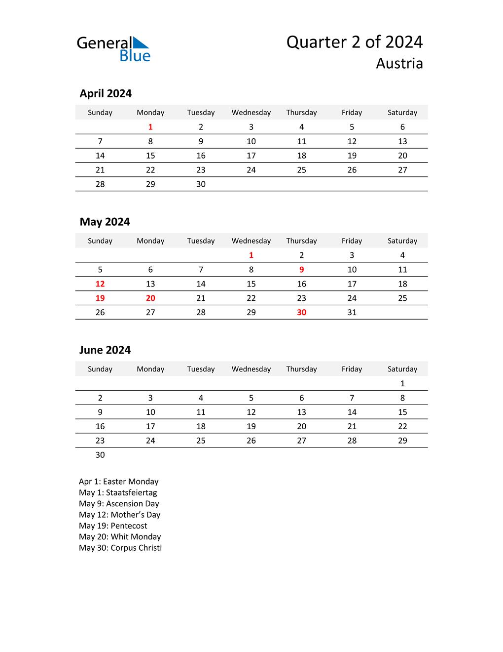 2024 Three-Month Calendar for Austria