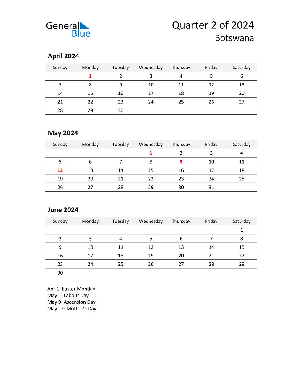 2024 Three-Month Calendar for Botswana
