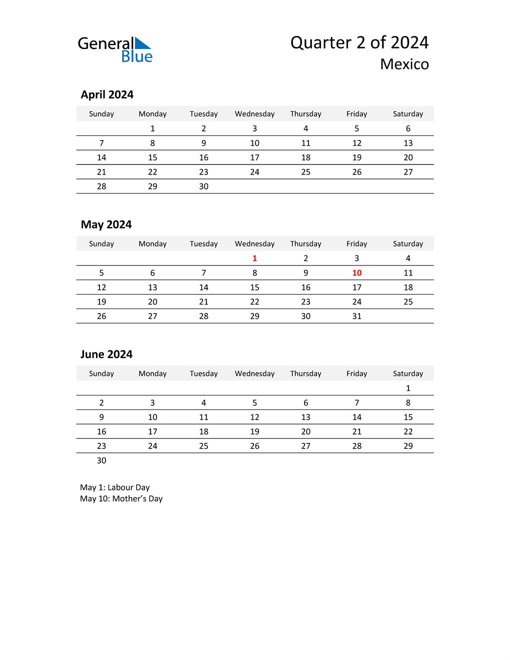 2024 Three-Month Calendar for Mexico