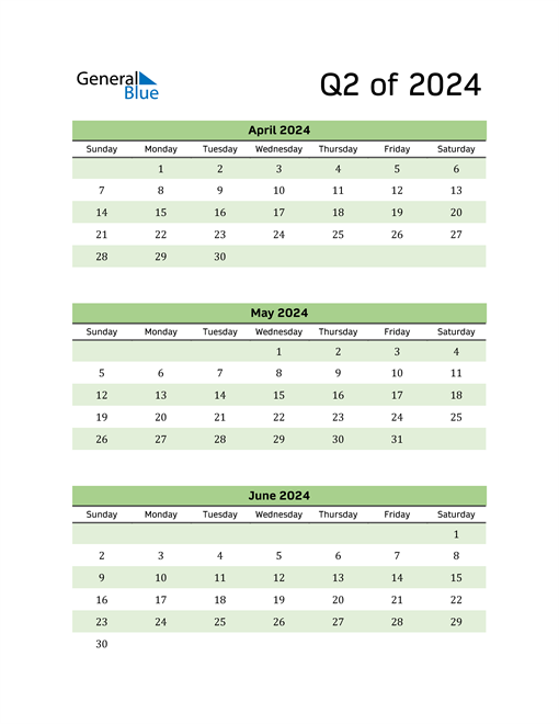 Printable Quarterly Calendar (Q2 2024)