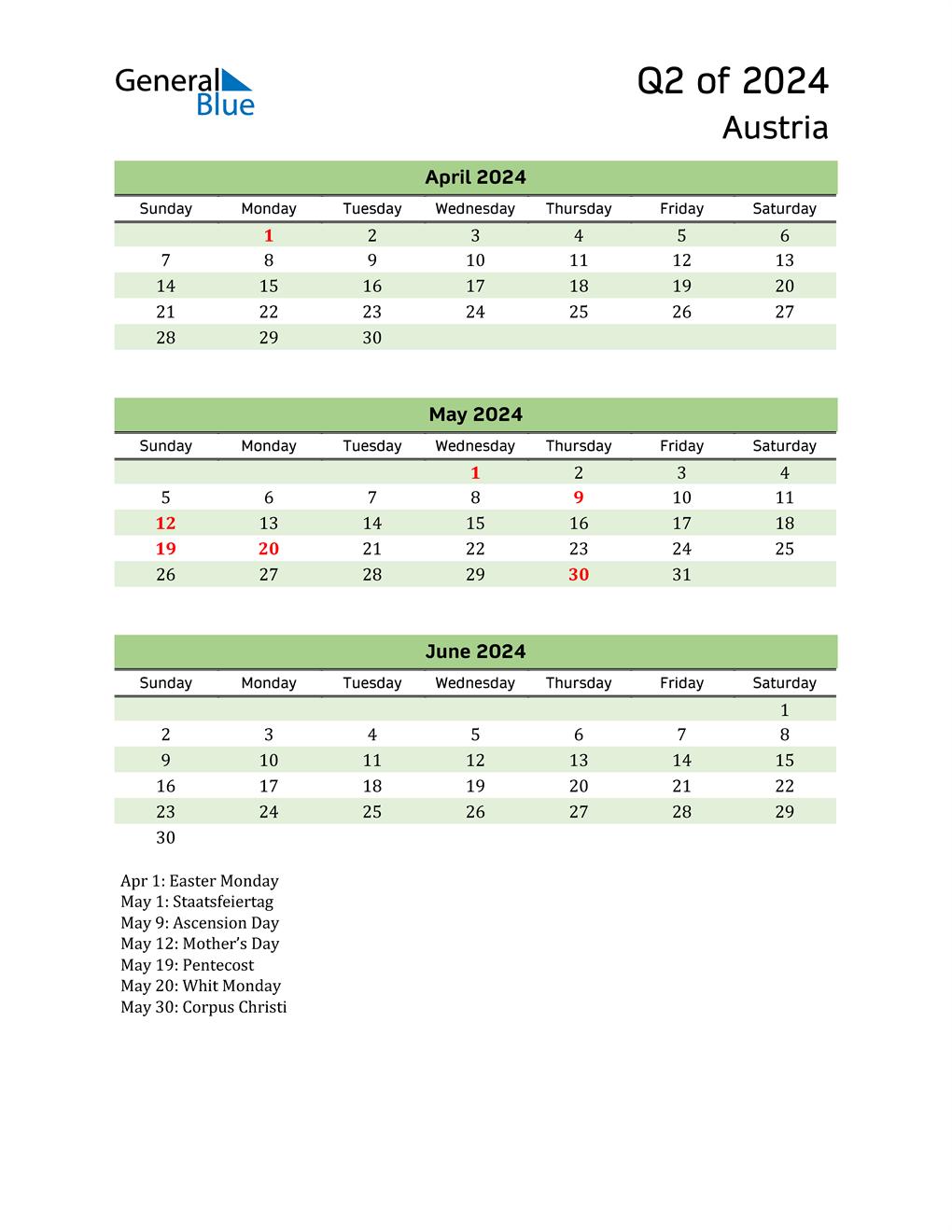 Quarterly Calendar 2024 with Austria Holidays