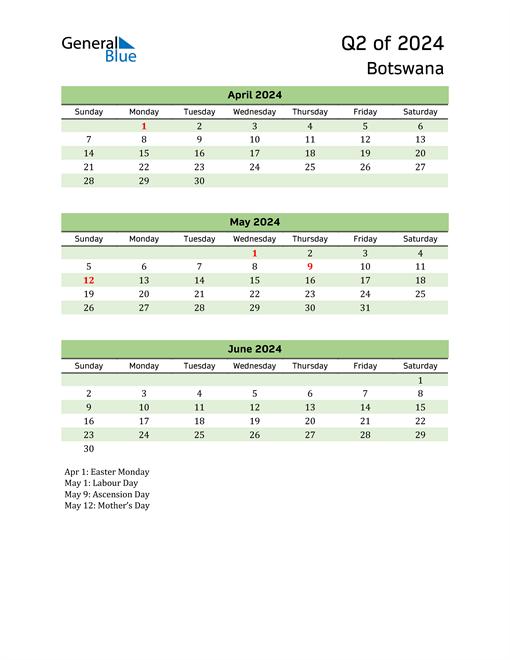 Quarterly Calendar 2024 with Botswana Holidays