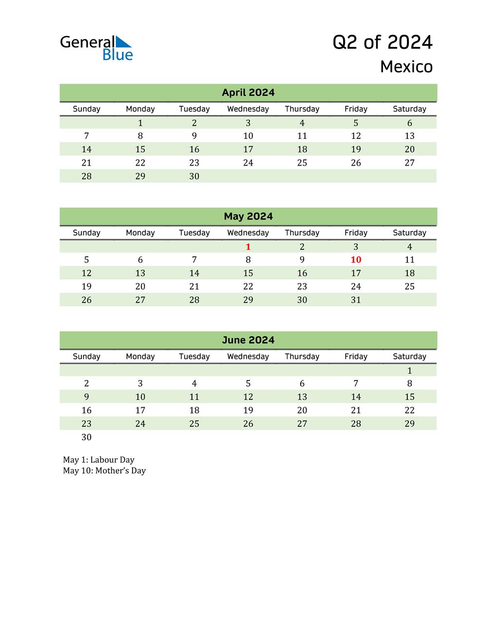 Quarterly Calendar 2024 with Mexico Holidays