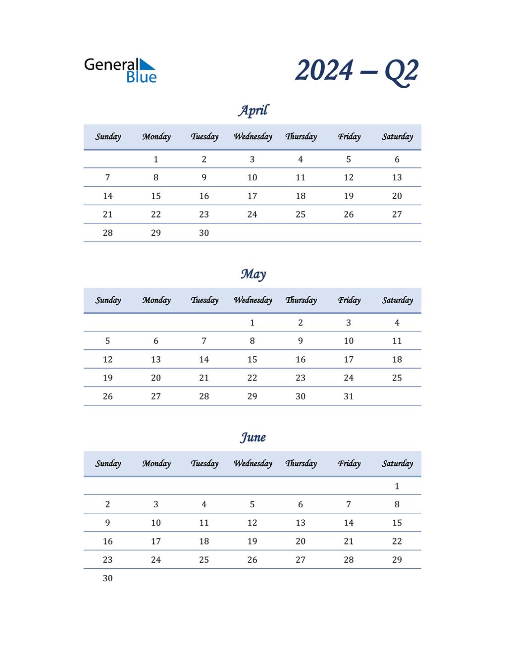 2024 Quarterly Calendar