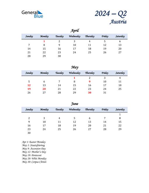 April, May, and June Calendar for Austria