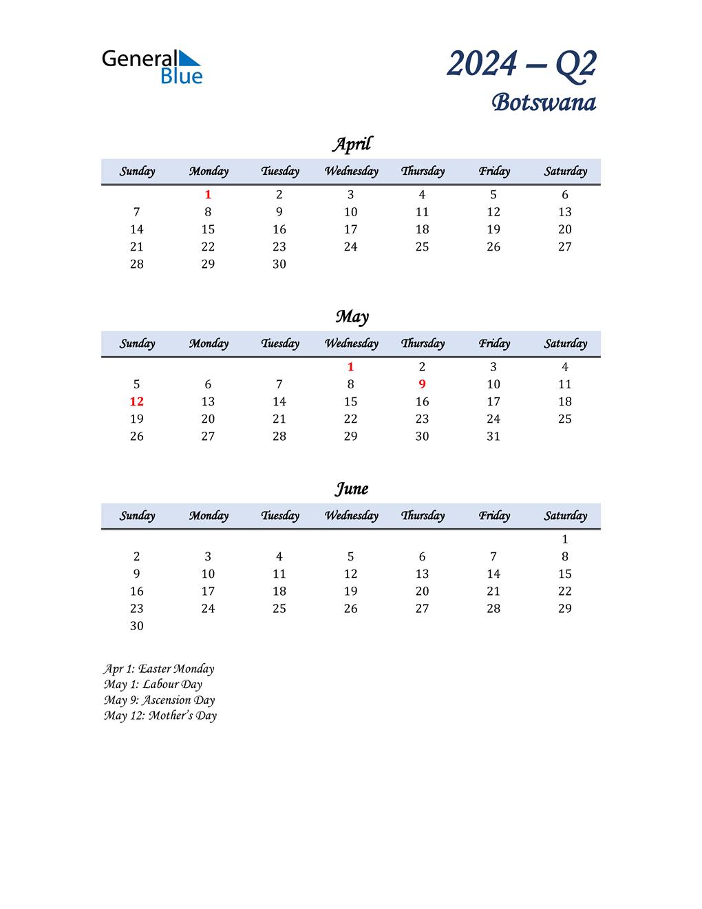 April, May, and June Calendar for Botswana