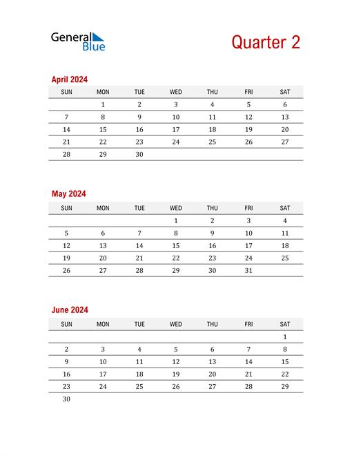Three-Month Printable Calendar 2024