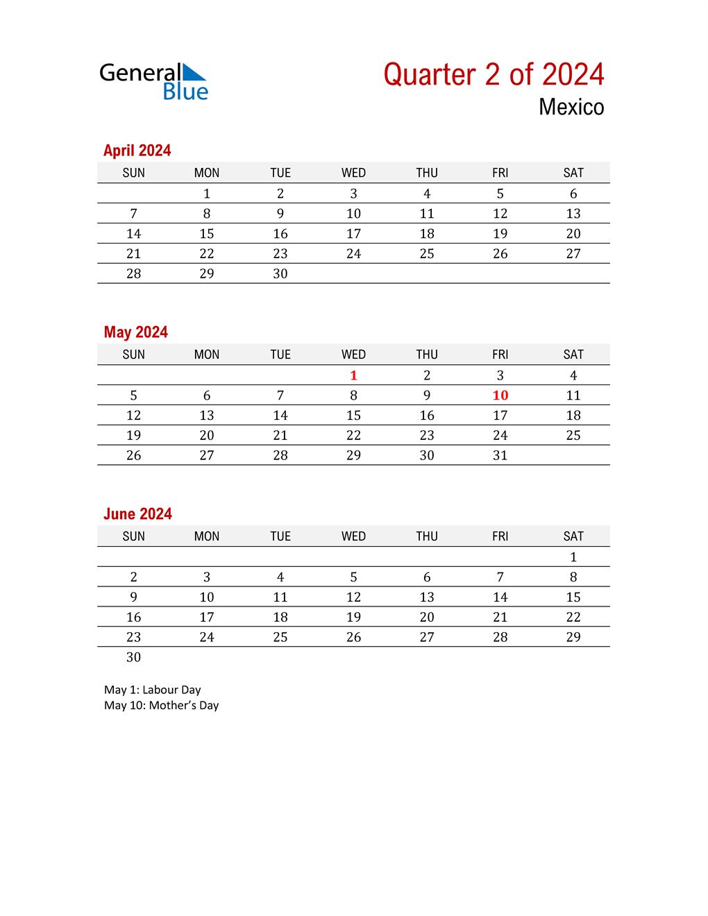 Printable Three Month Calendar for Mexico