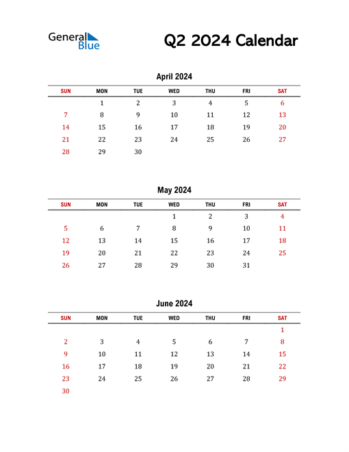 2024 Q2 Calendar with Red Weekend