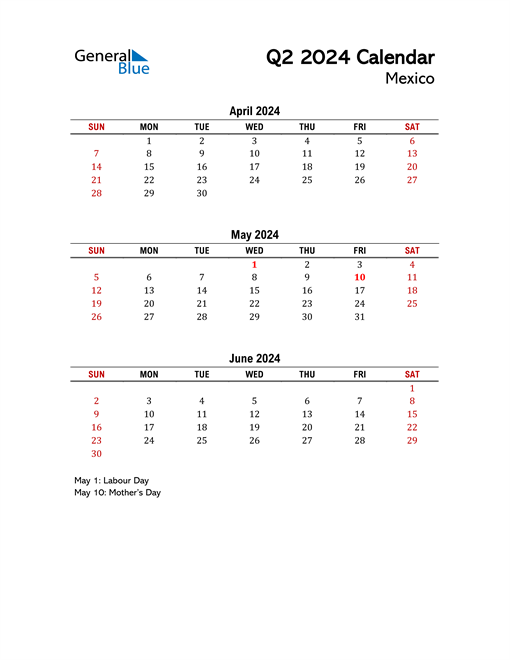 2024 Q2 Calendar with Holidays List