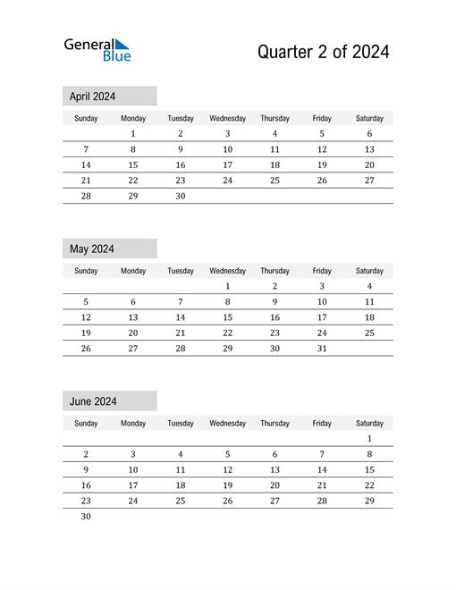 April, May, and June Calendar 2024