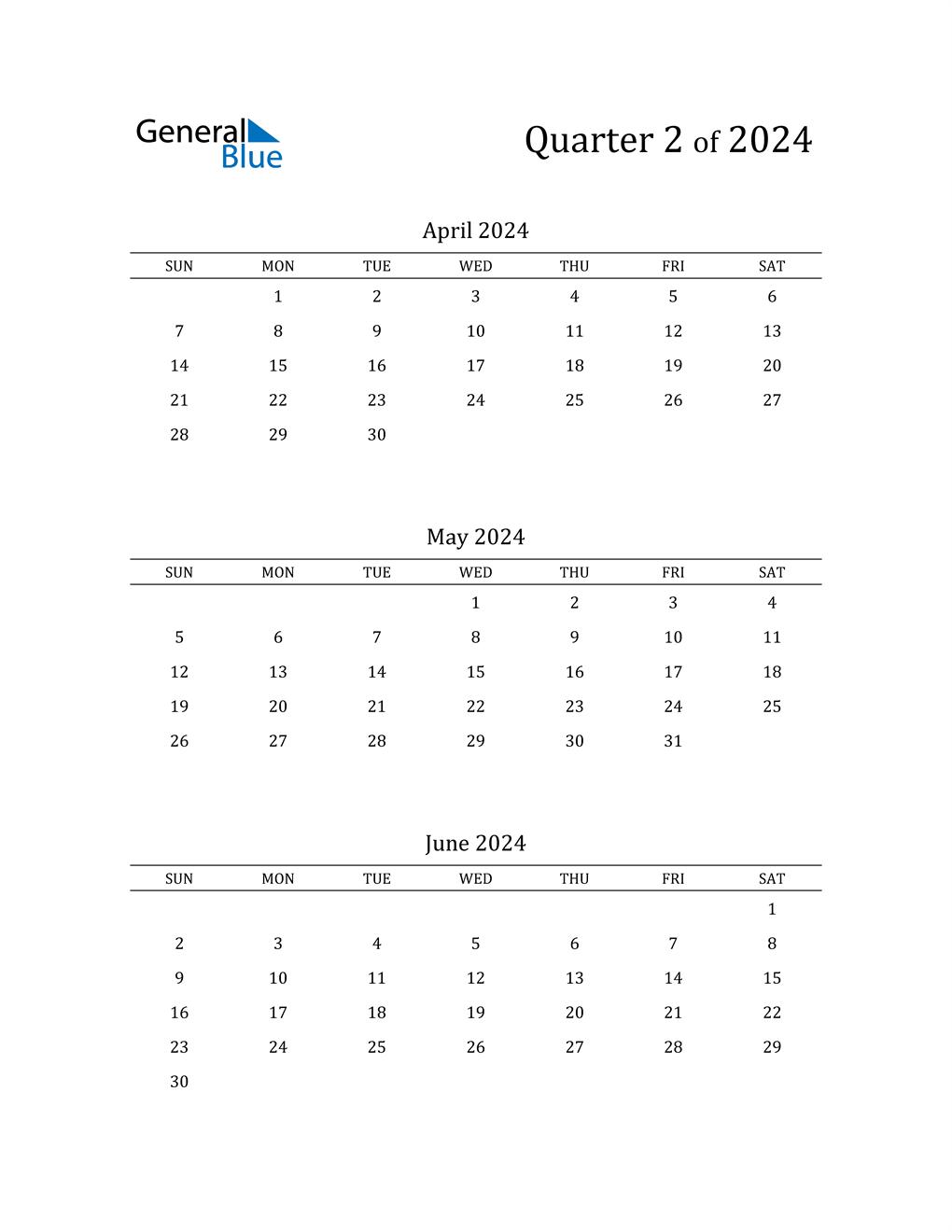 2024 Three-Month Calendar