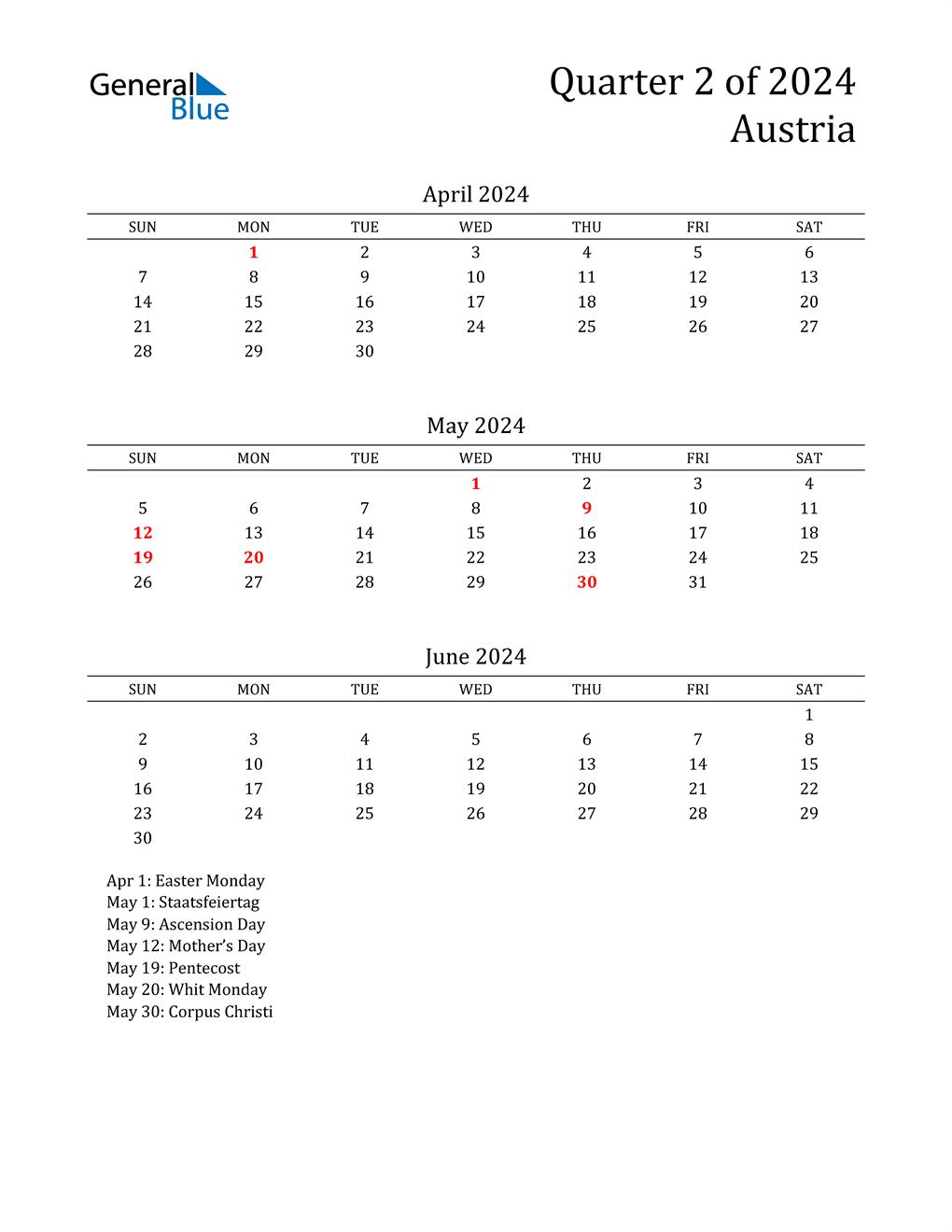 2024 Austria Quarterly Calendar