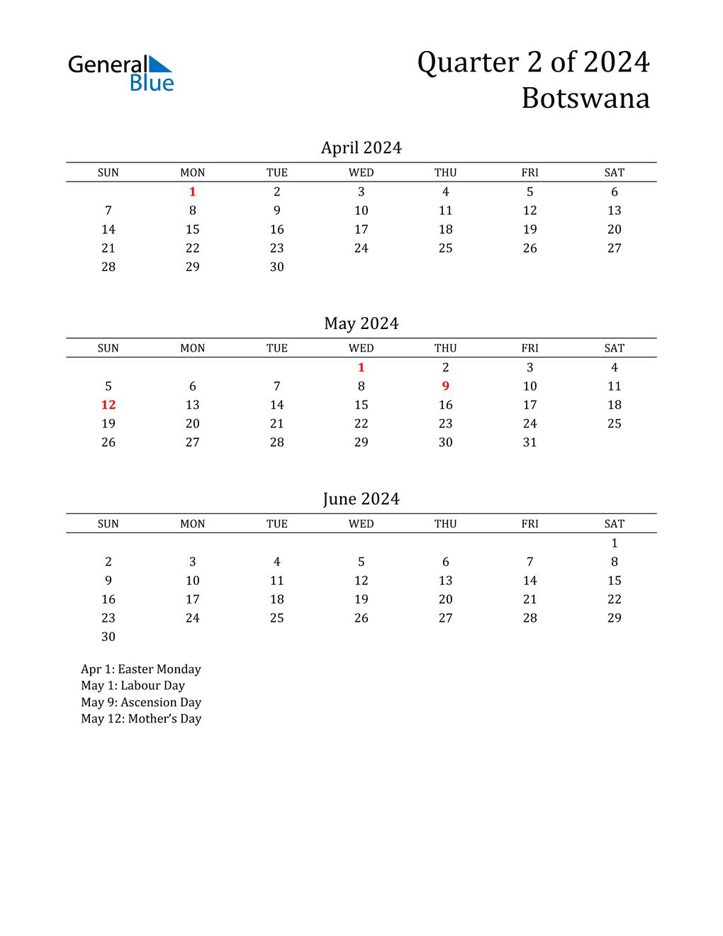 2024 Botswana Quarterly Calendar