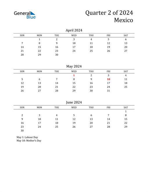 2024 Mexico Quarterly Calendar