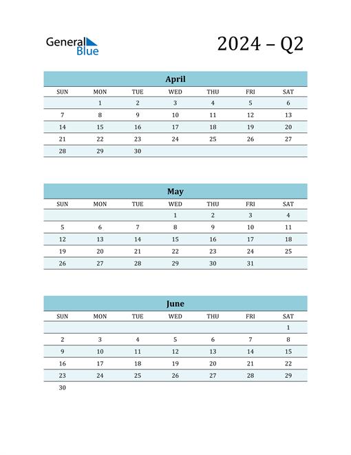April, May, and June 2024 Calendar