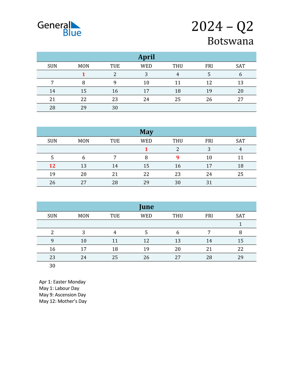 Three-Month Planner for Q2 2024 with Holidays