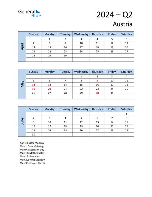 Free Q2 2024 Calendar for Austria