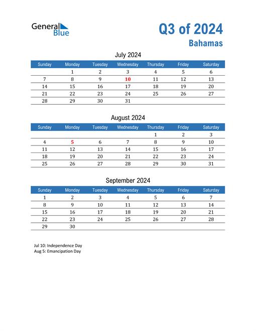 Bahamas 2024 Quarterly Calendar