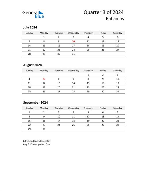 2024 Three-Month Calendar for Bahamas