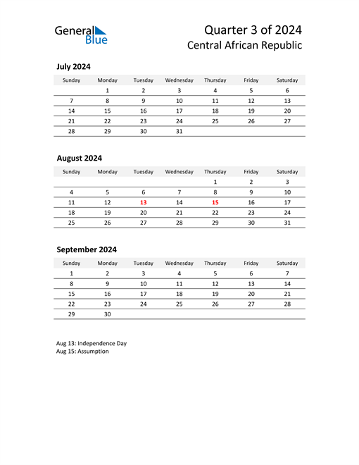 2024 Three-Month Calendar for Central African Republic