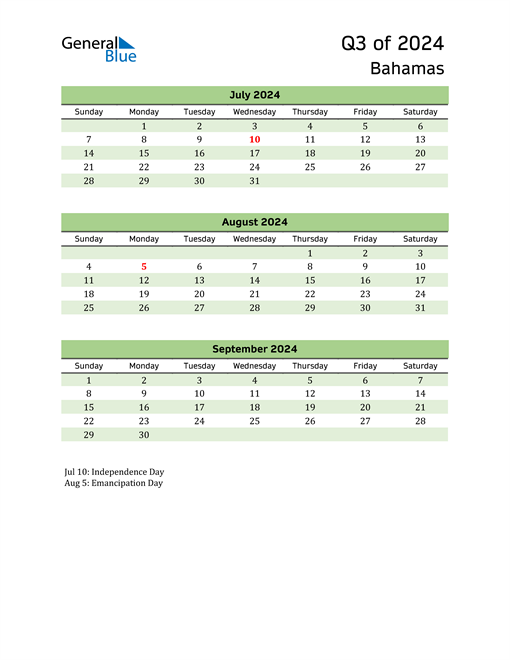 Quarterly Calendar 2024 with Bahamas Holidays