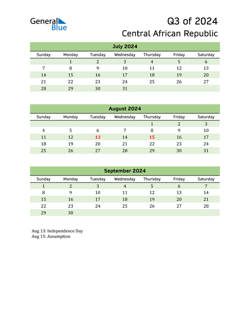 Quarterly Calendar 2024 with Central African Republic Holidays