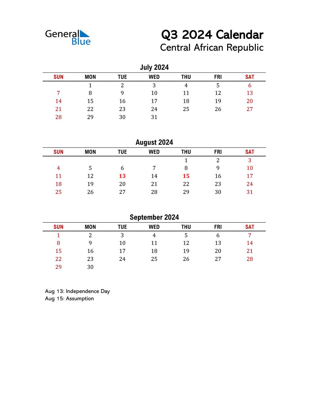 2024 Q3 Calendar with Holidays List