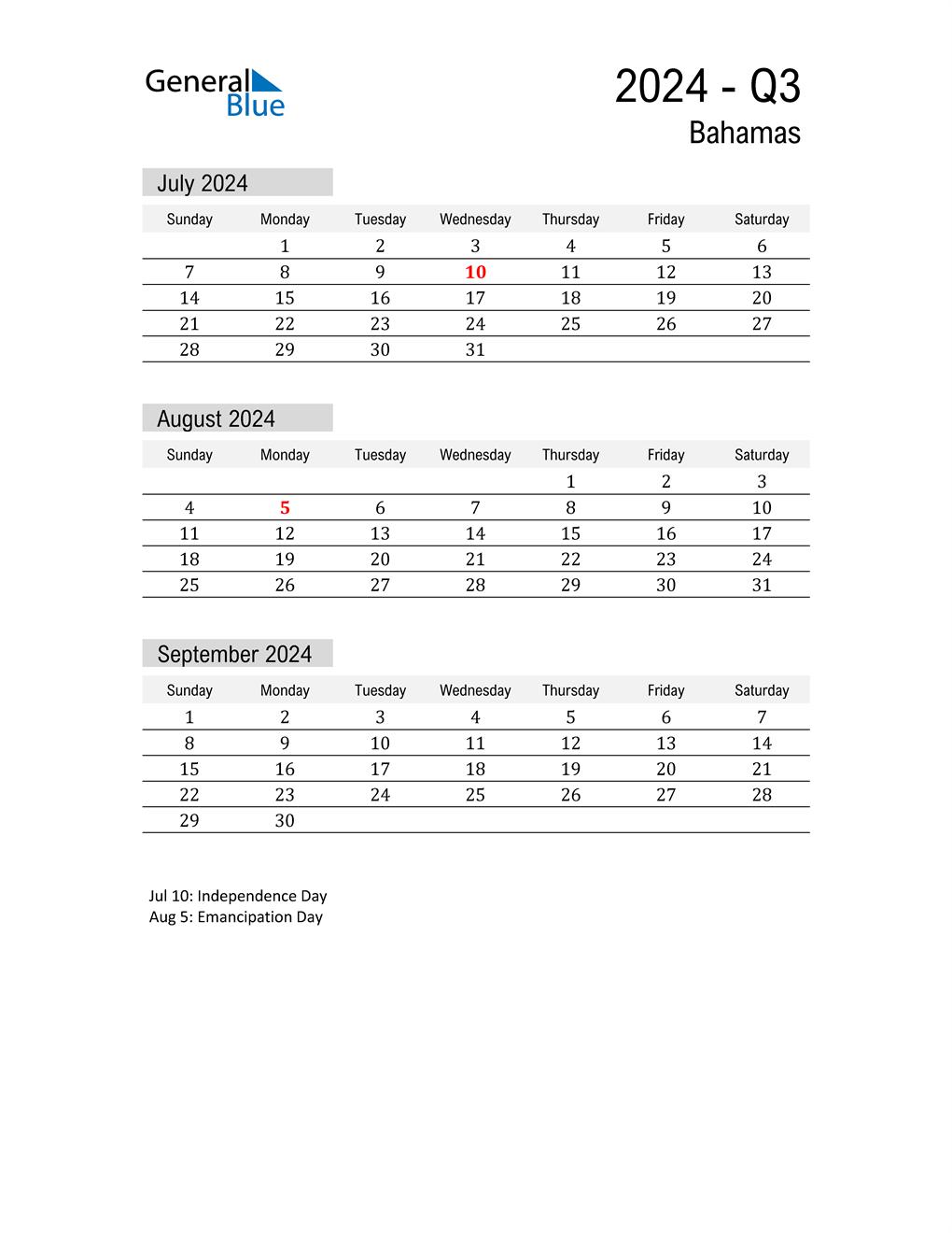 Bahamas Quarter 3 2024 Calendar