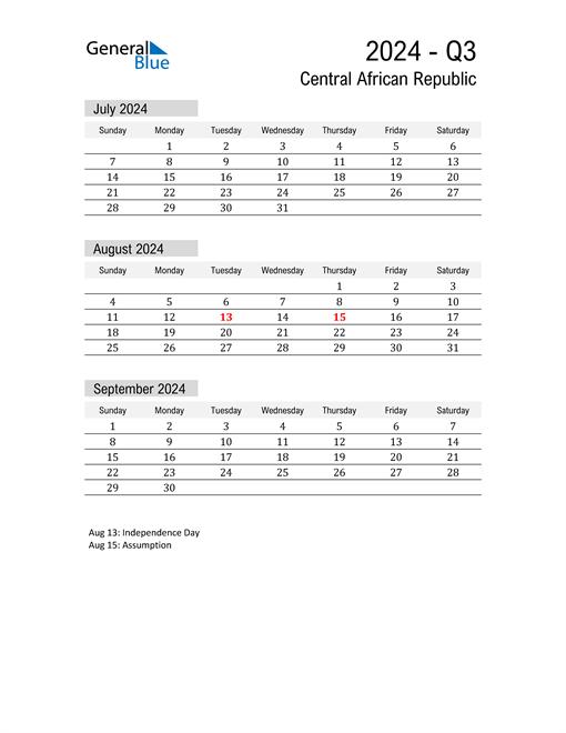 Central African Republic Quarter 3 2024 Calendar