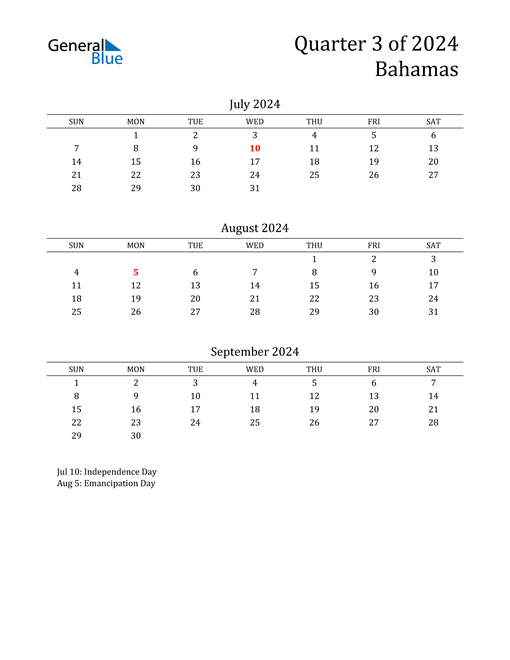 2024 Bahamas Quarterly Calendar