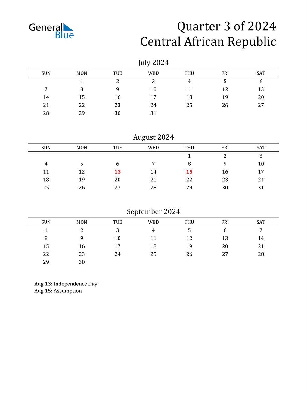 2024 Central African Republic Quarterly Calendar