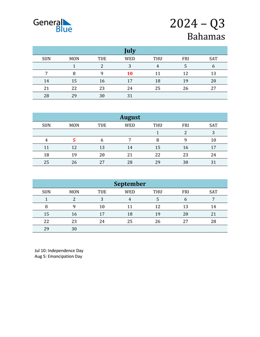 Three-Month Planner for Q3 2024 with Holidays
