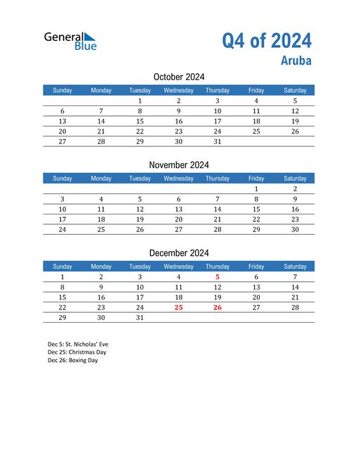 Aruba 2024 Quarterly Calendar