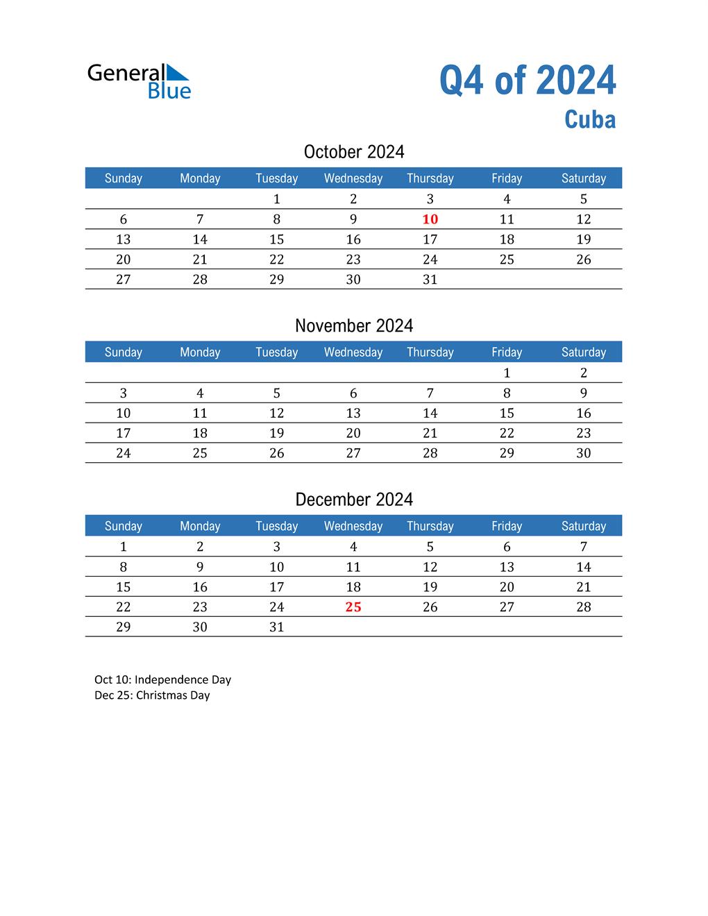 Cuba 2024 Quarterly Calendar