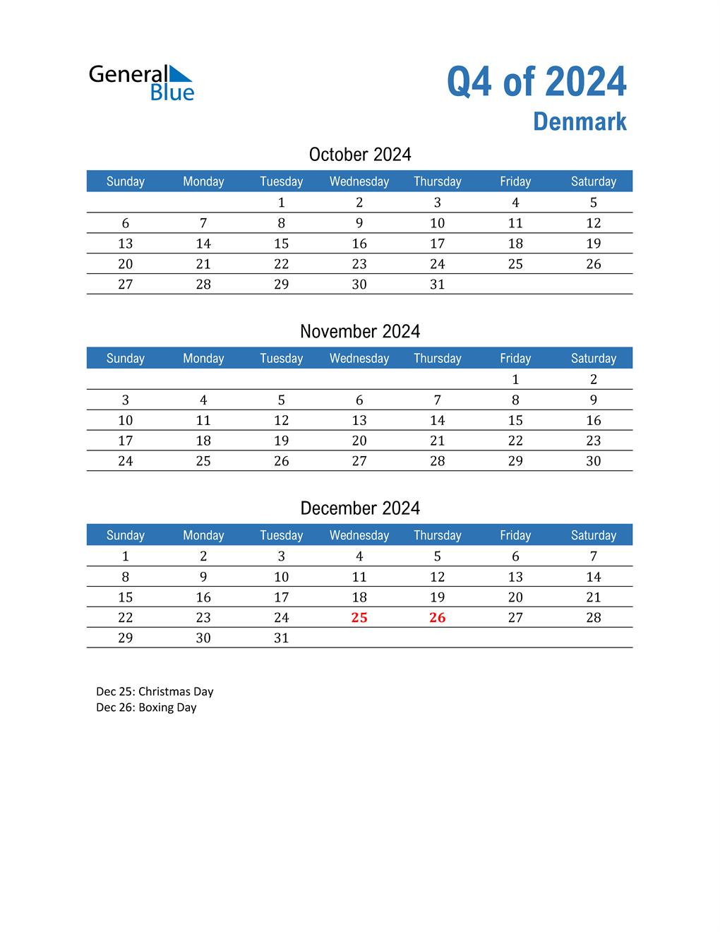 Denmark 2024 Quarterly Calendar