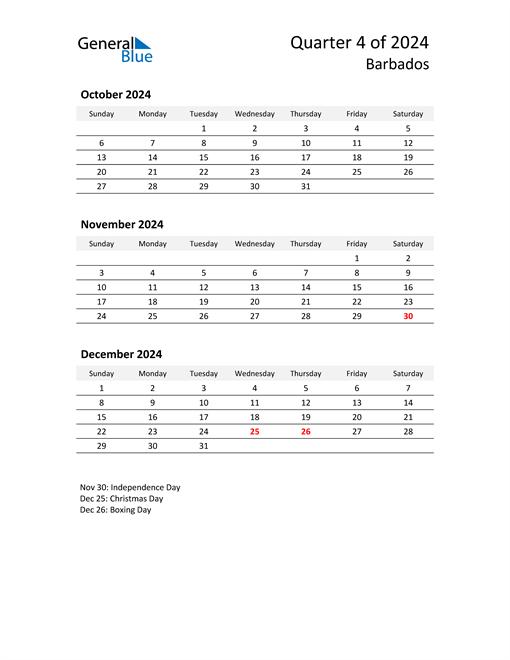 2024 Three-Month Calendar for Barbados
