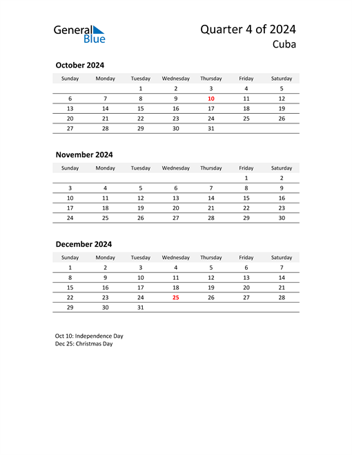 2024 Three-Month Calendar for Cuba