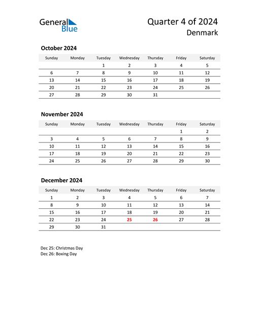 2024 Three-Month Calendar for Denmark
