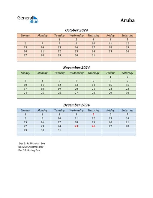 Q4 2024 Holiday Calendar - Aruba