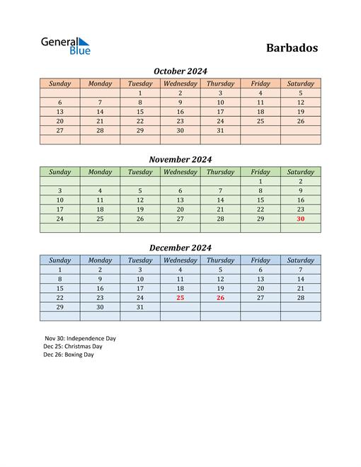 Q4 2024 Holiday Calendar - Barbados