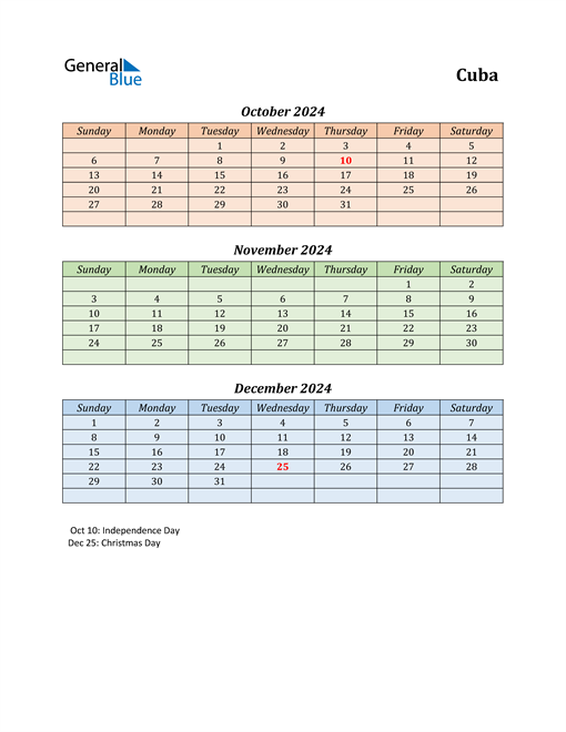 Q4 2024 Holiday Calendar - Cuba
