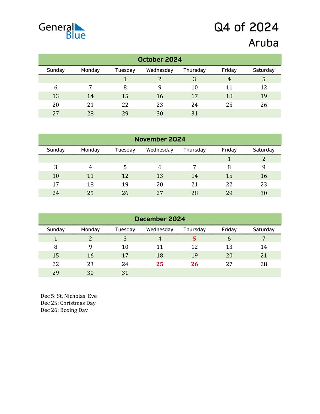 Quarterly Calendar 2024 with Aruba Holidays