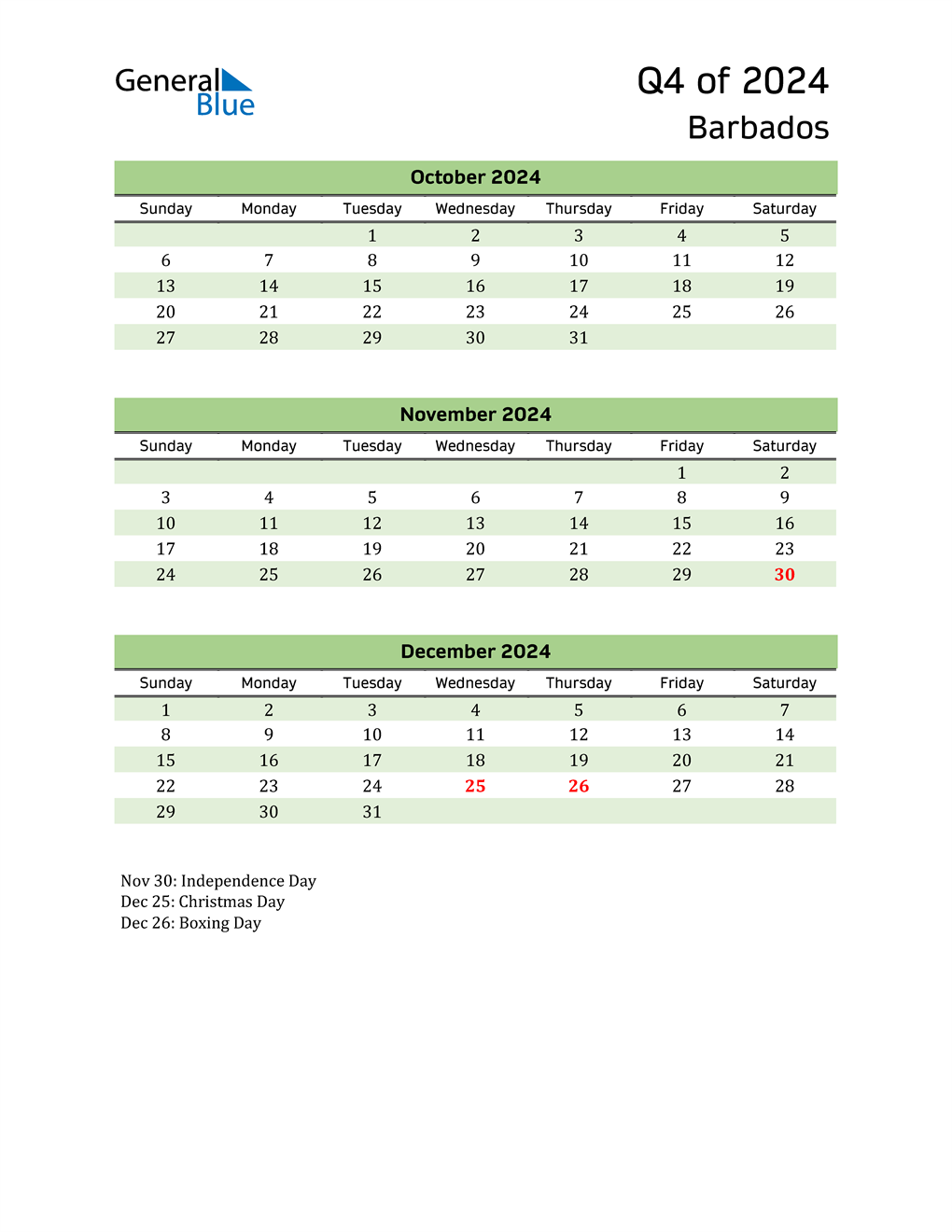 Quarterly Calendar 2024 with Barbados Holidays