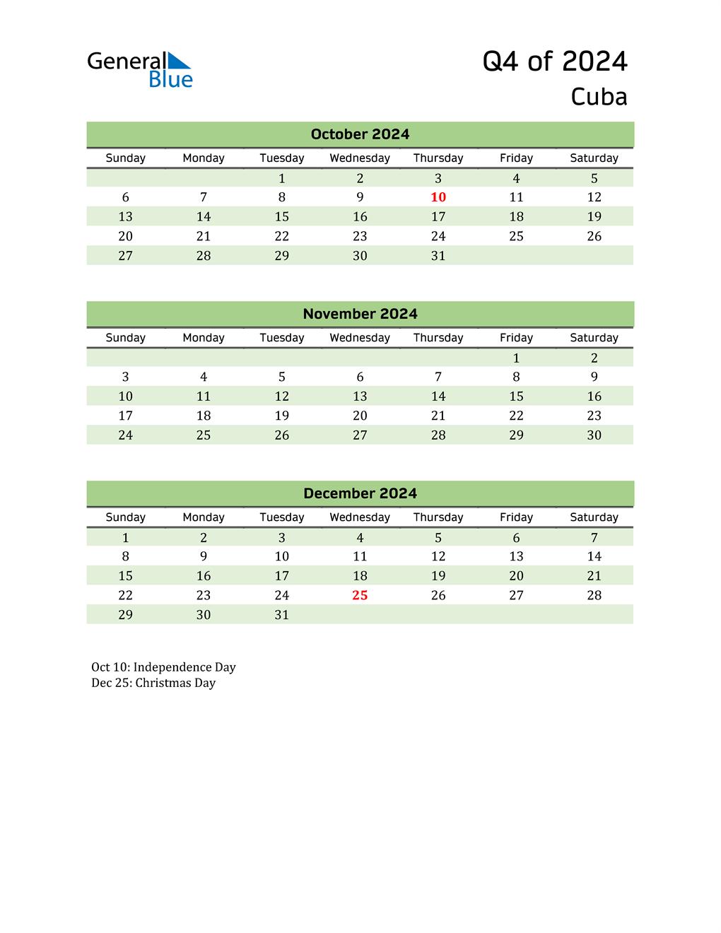Quarterly Calendar 2024 with Cuba Holidays