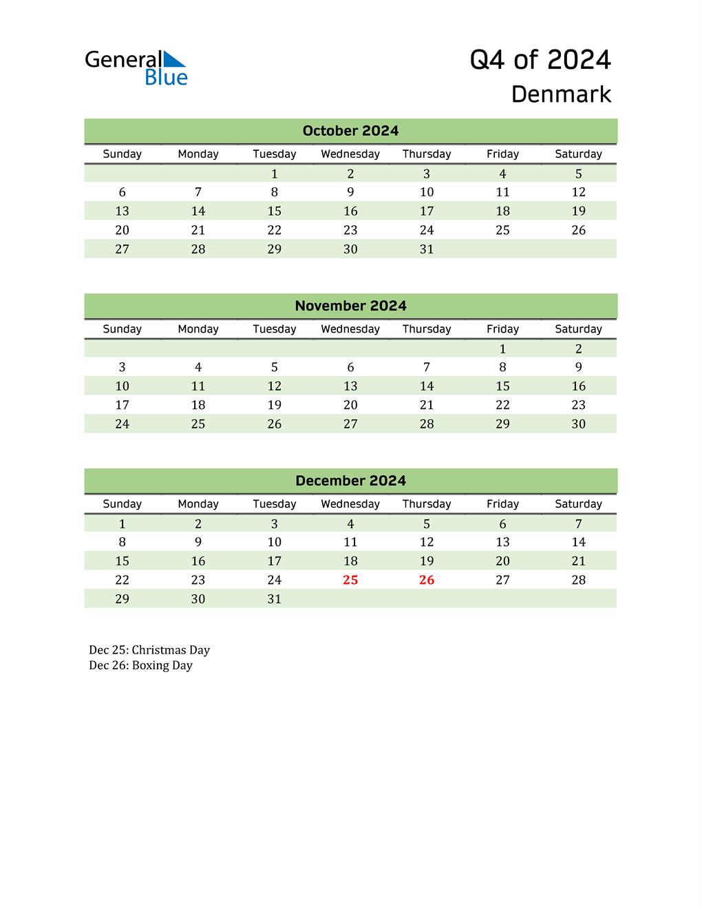 Quarterly Calendar 2024 with Denmark Holidays
