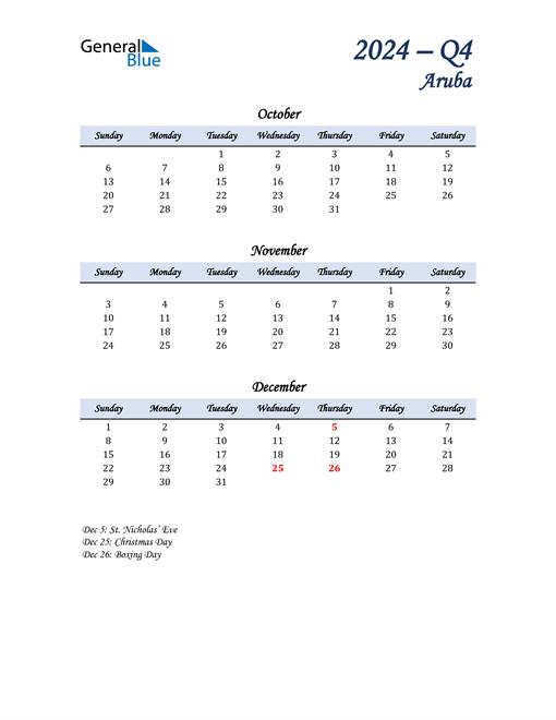 October, November, and December Calendar for Aruba