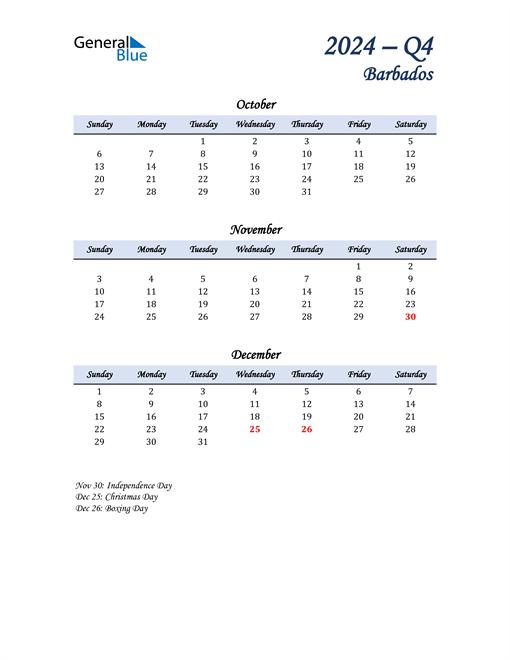 October, November, and December Calendar for Barbados