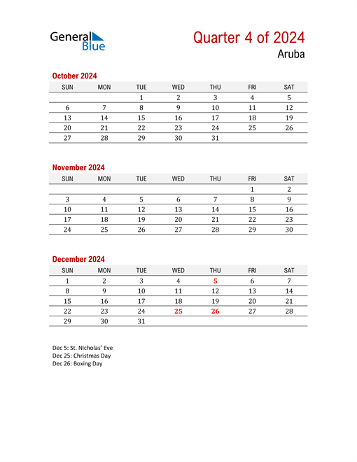 Printable Three Month Calendar for Aruba